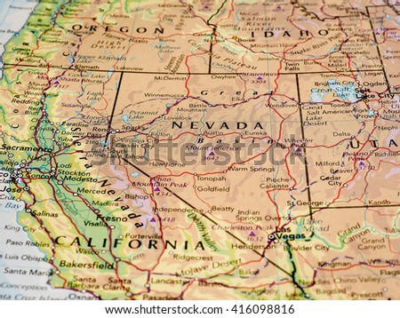 CARSON CITY, USA - CIRCA MAY 2016: Map of the state of Nevada with ...