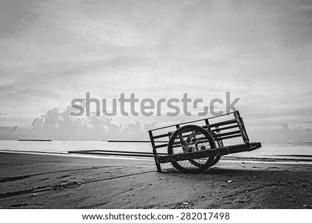 cart on the beach (black and white retro style)