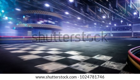Cart race track finish line in motion background #1024781746