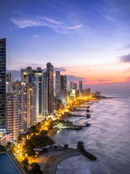 Cartagena de Indias skyline at sunset, Colombia.