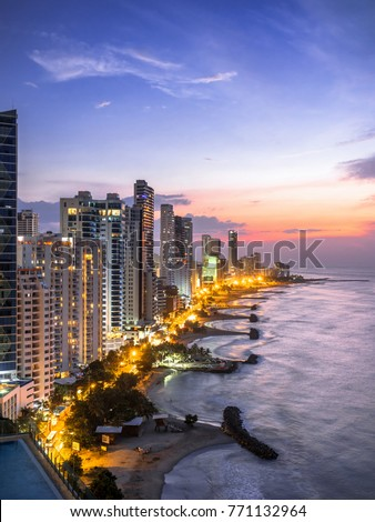 Cartagena de Indias skyline at sunset, Colombia.