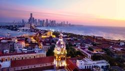 Cartagena skyline Colombia at sunset