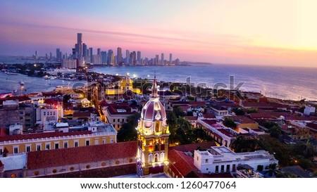 Cartagena skyline Colombia at sunset Stock fotó ©