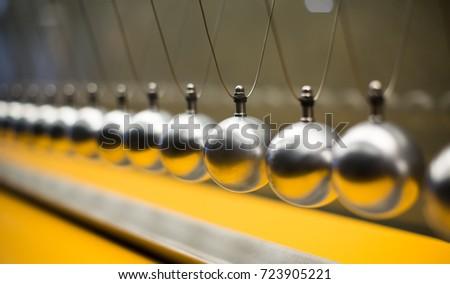 Cartesian impulse conservation law experiment metallic balls #723905221