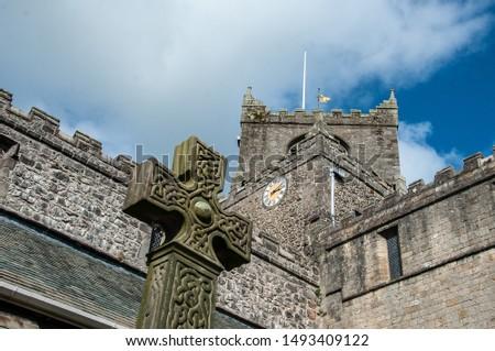 Cartmel Priory Cumbria ans Celtic cross Stock photo ©