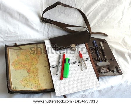 Cartographer mapmaker geographer bag leather with pencils and compass divider ready to explore and discover new horizons and countries #1454639813