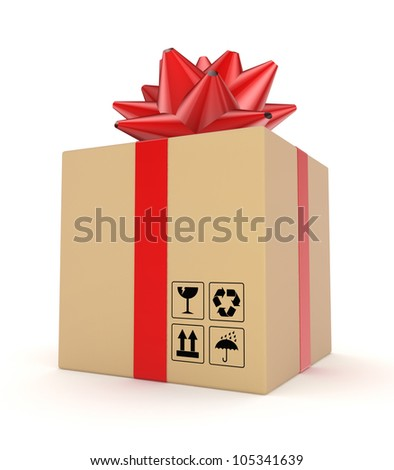 Carton box decorated with a red ribbon.Isolated on white background.3d rendered.