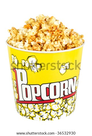 carton box full corn popcorn sweet kernels isolated over white with clipping path