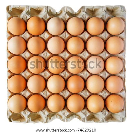 Carton box of thirty eggs isolated on white background. Clipping path include.