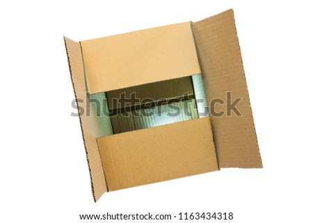 Carton box on a white background for transportation. The box is half open, the bottom of the box shows that the light is shining. Isolated. Top view