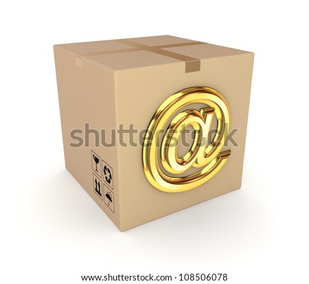 Carton box with AT symbol.Isolated on white background.3d rendered.