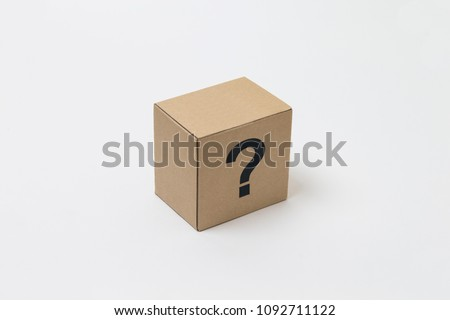 carton box with question mark character on white background.
