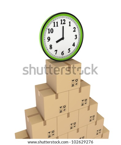 Carton boxes and green watch.Isolated on white background.3d rendered.