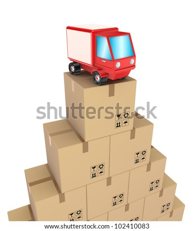 Carton boxes and red truck.Isolated on white background.3d rendered.