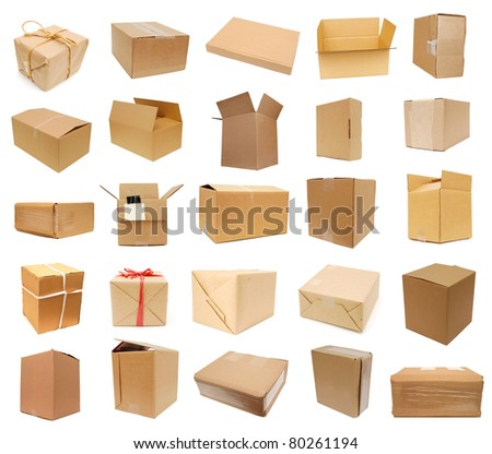 Carton boxes on collage