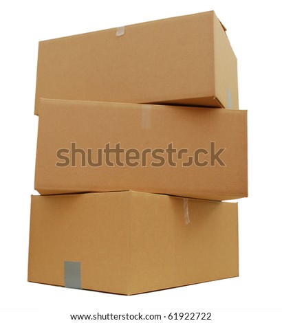 Carton boxes on white background - stock photo