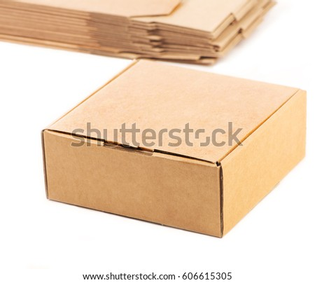 Carton gift packaging for packaging products isolated on white #606615305