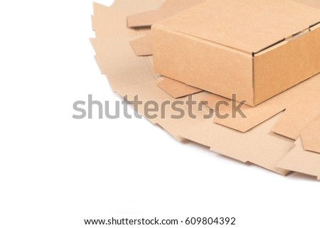 Carton gift packaging for packaging products isolated on white #609804392