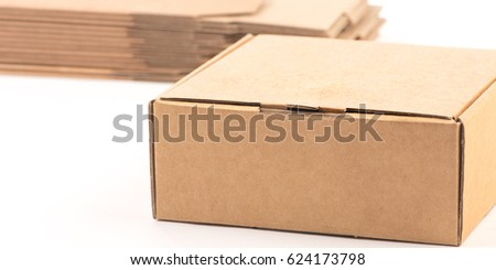 Carton gift packaging for packaging products isolated on white #624173798