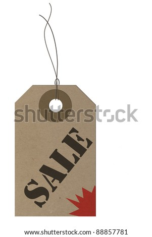 Carton Sale Price Tag isolated on white background - stock photo
