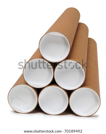 Carton tubes. Isolated