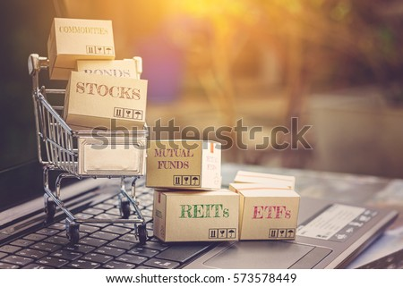 Cartons of financial products and a shopping cart i.e commodities, bonds, stocks, mutual funds, REITs, ETFs. Ideas about portfolio selection that can be managed for optimal return online via internet. #573578449