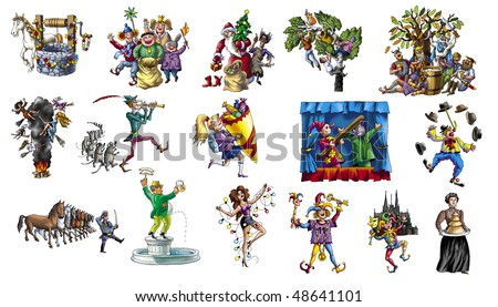 Cartoon about celebrating the various holidays_2 - stock photo