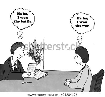 Cartoon about winning the war.