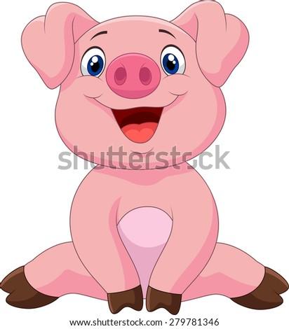 Cartoon adorable baby pig, illustration #279781346