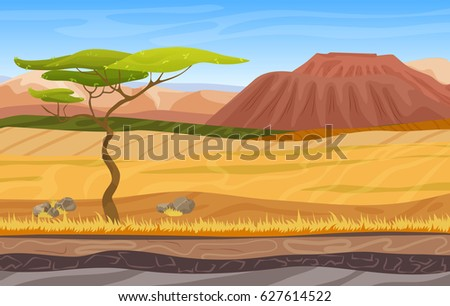Cartoon african panorama savanna landscape with tree, mountains, yellow grass and sand.