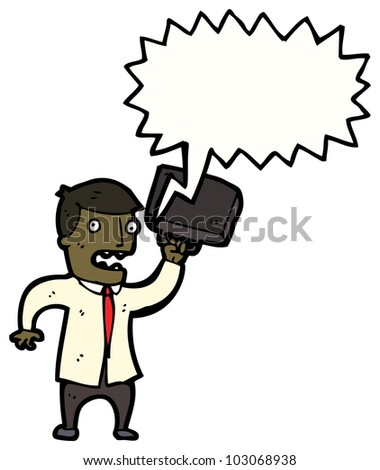 cartoon angry businessman