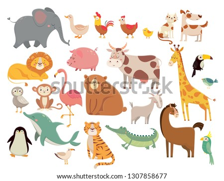 Cartoon animals. Cute elephant and lion, giraffe and crocodile, cow and chicken, dog and cat animal. Farm and savanna wild forest and marine or zoo animals  isolated icons set #1307858677