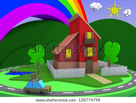 Cartoon architecture house with a great landscape and a rainbow