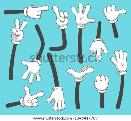 Cartoon arms. Doodle gloved pointing hands, different human point arm, comic parts in gloves or outline armed finger hand gestures in glove. Vintage  isolated illustration icons set