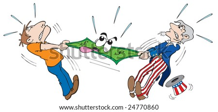 cartoon art of Uncle Sam and man pulling at the same dollar.