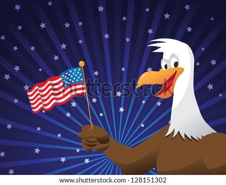Cartoon Bald Eagle with Flag and Fireworks JPG