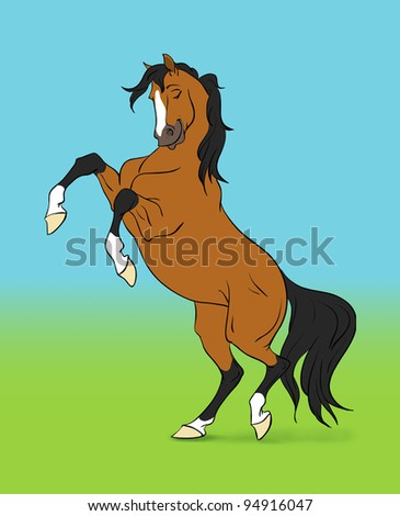 cartoon bay horse on color background