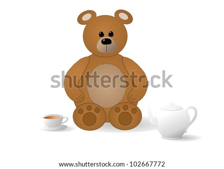 Cartoon bear with teapot and cup
