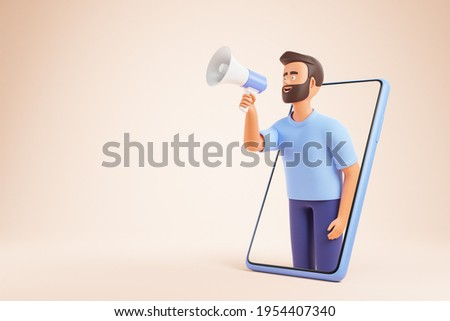 Cartoon beard character man holding loudspeaker and making announcement from smartphone over yellow background. Social media advertising concept. 3d render illustration.