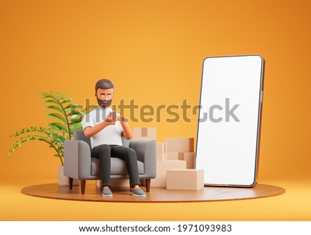 Cartoon beard character man seat on gray armchair on wooden podium with cardboard boxes and white blank screen phone and use smartphone. Online shopping delivery and moving. 3d render illustration. Foto stock ©