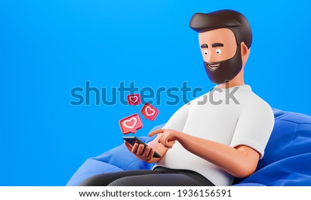 Cartoon beard character man use smartphone with like heart icons over blue background. Social network influencer concept. 3d render illustration.