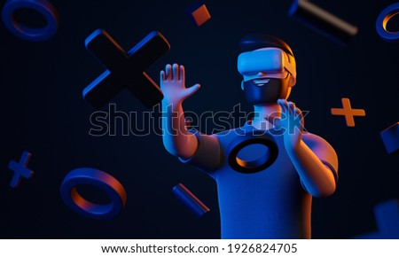 Cartoon beard character man using vr goggles at virtual reality world with simple geometric forms over black background. Blue and yellow light future gaming concept. 3d render illustration.