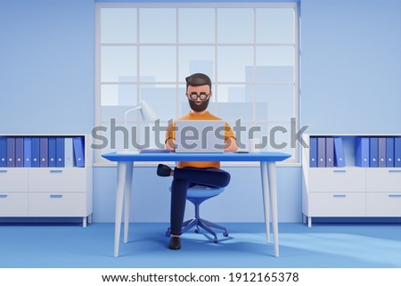 Cartoon beard handsome character casual man seat at desk working on laptop in blue office. 3d render illustration.