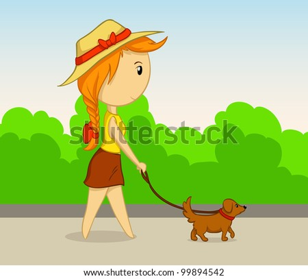 Cartoon beauty girl in hat with dog walk in park