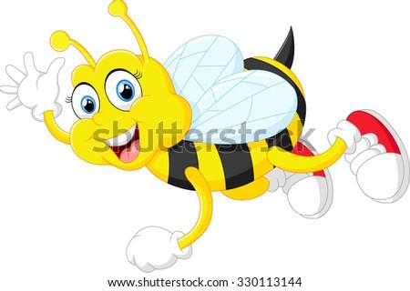 Cartoon bee waving hand isolated on white background