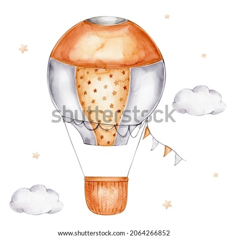 Cartoon beige air balloon with flags, stars and clouds; watercolor hand drawn illustration; with white isolated background