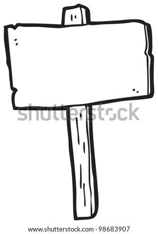cartoon blank sign post