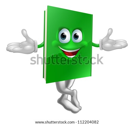 Cartoon book mascot smiling with crossed legs and hands out