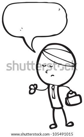 cartoon bored businessman