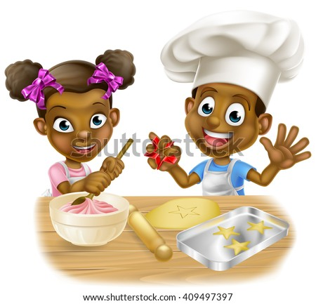 Cartoon boy and girl kids dressed as chefs baking cakes and cookies